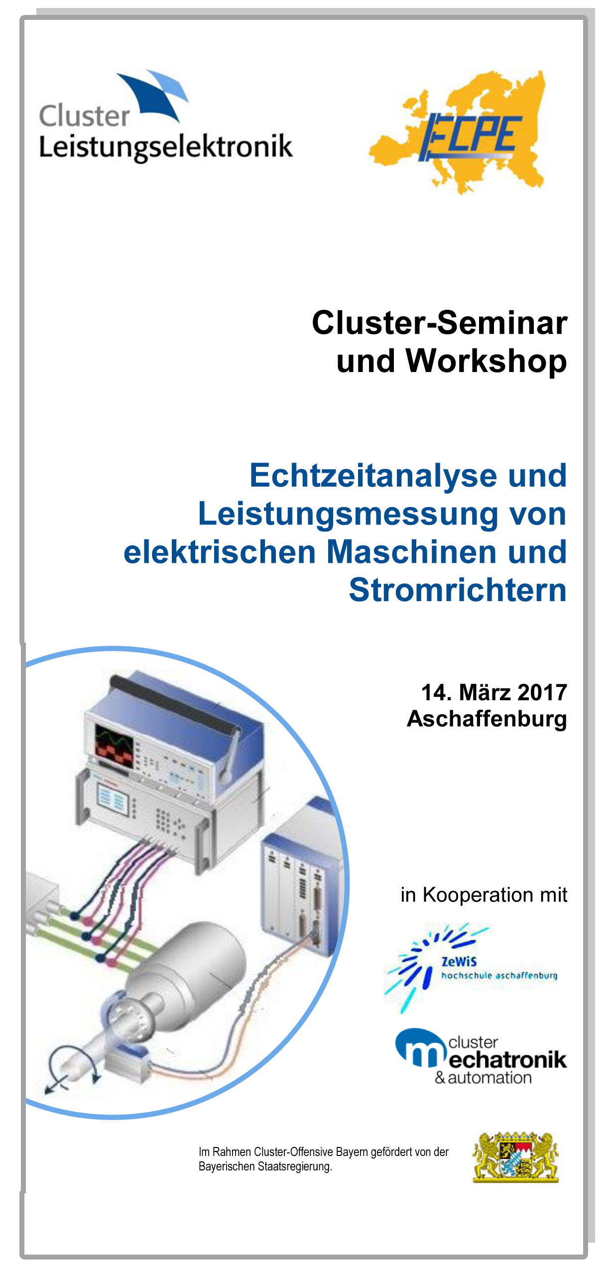 Cluster-Seminar mit Workshop: Echtzeitanalyse und Leistungsmessung von elektrischen Maschinen und Stromrichtern